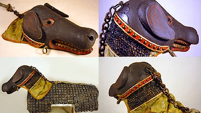 "{""author"":""Toraba.com"",""link"":""https%3A//stevecooperorg.files.wordpress.com/2008/02/samurai_dog_armor_1.jpg"",""descr"":""Japanese%20armor%20dealer%20Toraba.Comas%20the%20only%20known%20and%20certified%20authentic%20example%20of%20its%20kind%20—%20is%20believed%20to%20have%20been%20created%20for%20the%20pet%20of%20a%20wealthy%2C%20high-ranking%20and%20presumably%20eccentric%20samurai%20or%20daimyo%20%28feudal%20lord%29%20in%20the%20mid%20to%20late%20Edo%20period%20%28mid-18th%20to%20mid-19th%20century%29""}"