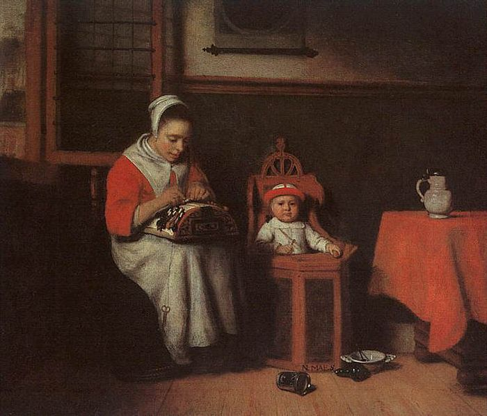"{""author"":""Nicolaes%20Maes%20"",""link"":""http%3A//commons.wikimedia.org/wiki/File%3ANicolaes_Maes_-_The_Lacemaker_-_WGA13819.jpg"",""descr"":""Nicolaes%20Maes%20%281634–1693%29""}"